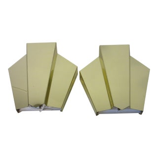 Art Deco Style Brass Wall Sconces - a Pair For Sale