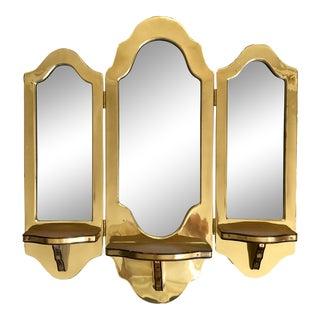Vintage Three Panel Brass Mirrored Bracket For Sale