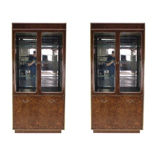 Mid-Century Modern Burl Walnut Brass and Glass Show Case Curio Cabinets - a Pair For Sale