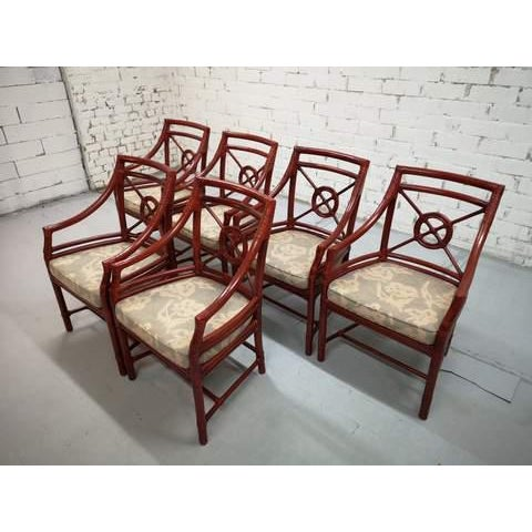 Set of 6 Italian Mid Century Red Bamboo Chippendale Lounge Dining Chairs For Sale - Image 11 of 13