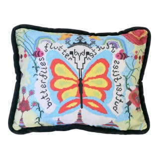 Custom Butterfly Velvet Feather Down Pillow, Original Design For Sale