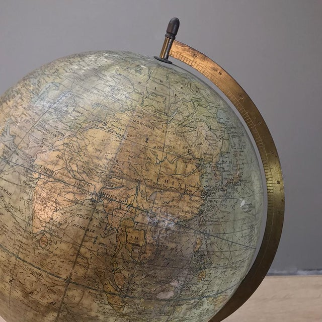 Antique French Paper MacheÕ World Globe on Painted Cast Iron Stand For Sale - Image 8 of 11