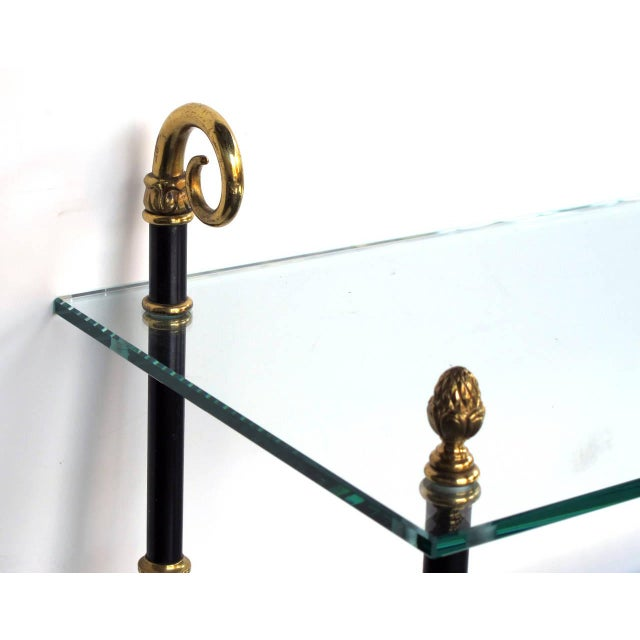 Maison Jansen Good Quality French Three-Tiered Etagere With Glass Shelves by Maison Jansen For Sale - Image 4 of 5