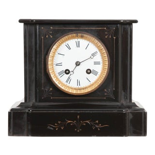 English 19th Century Aesthetic Movement Black Marble Mantel Clock For Sale