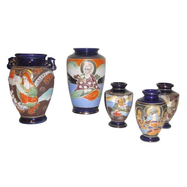 Vintage 1950s Japanese Satsuma Vases - Set of 5 - Image 1 of 11