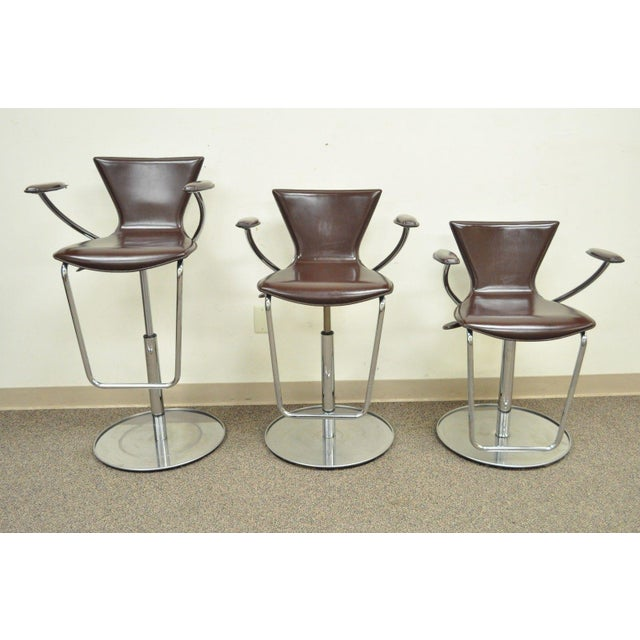 Contemporary Serico Contemporary Italian Modern Brown Leather Chrome Adjust Bar Stool Chair B For Sale - Image 3 of 11