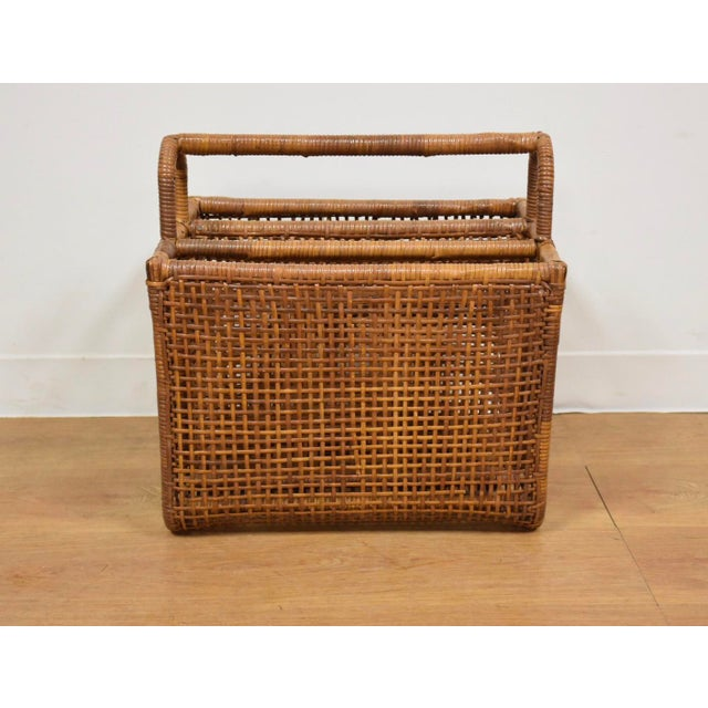 Boho Chic Bamboo & Rattan Magazine Rack For Sale - Image 3 of 8