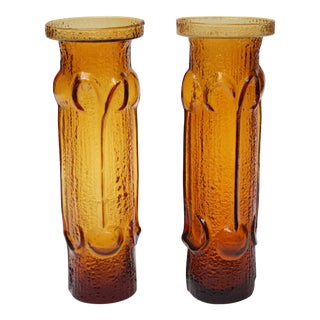 Stelvia Amber Blown-Glass 'Antiqua' Vases designed by Wayne Husted - a Pair For Sale