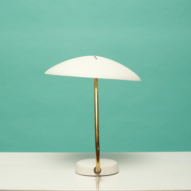 Bauhaus Bauhaus White and Brass Table Lamp For Sale - Image 3 of 6