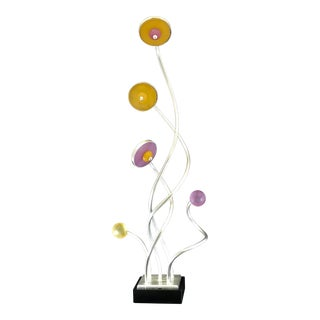 Vintage Mid-Century Modern Abstract Memphis Style Metal and Lucite Flower Sculpture For Sale