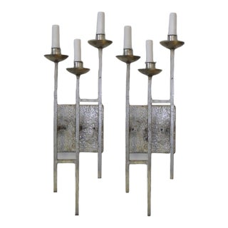 1960s Hollywood Regency Hammered Silvered Metal Sconces - a Pair