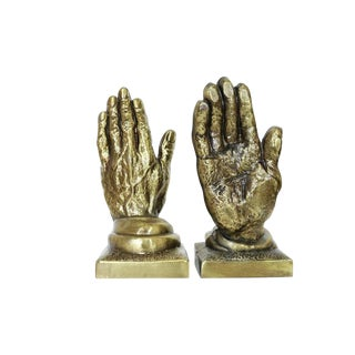 Vintage Metal Hands Bookends - a Pair For Sale