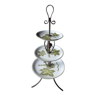 Whimsical Mid Century Italian Wrought Iron and Ceramic Three Tiered Fruit Epergne For Sale