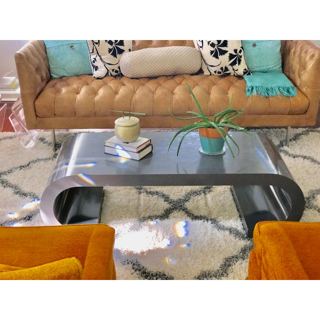 Asian Mid-Century Modern Scroll Coffee Table Attributed to Karl Springer For Sale - Image 3 of 11