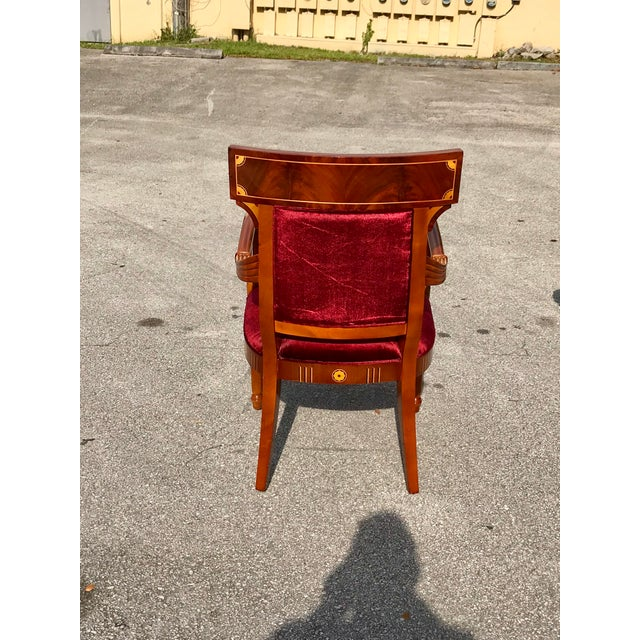 Brown 1910s Vintage Biedermeier Style Flame Mahogany Dining Chairs- Set of 8 For Sale - Image 8 of 13
