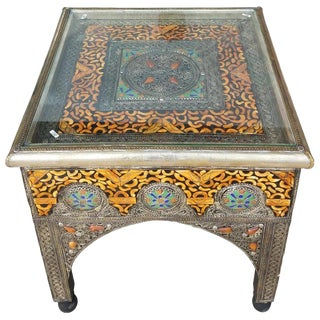 Moroccan Metal Inlay, Resin, and Camel Bone Side Table For Sale