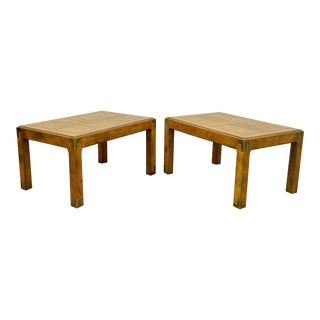 Pair of Vintage Henredon Artefacts Oak & Brass Campaign Parsons Style End Tables For Sale