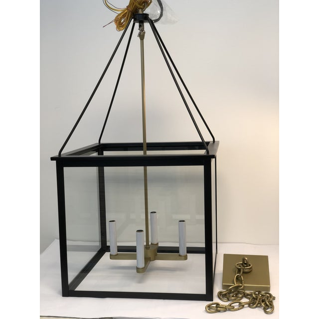 Classic Modern Lantern in Brushed Brass and Black Finish For Sale In Los Angeles - Image 6 of 6