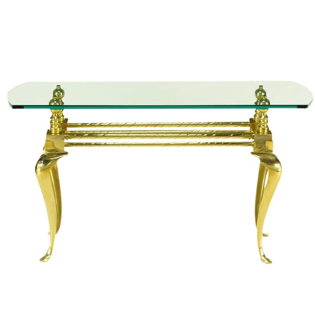 Cast & Polished Brass Cabriole Leg Console Table For Sale