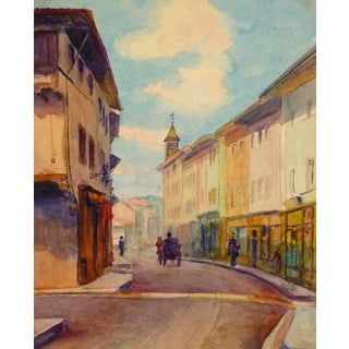 Alphonse Soumers, Antique French Town Watercolor Painting For Sale