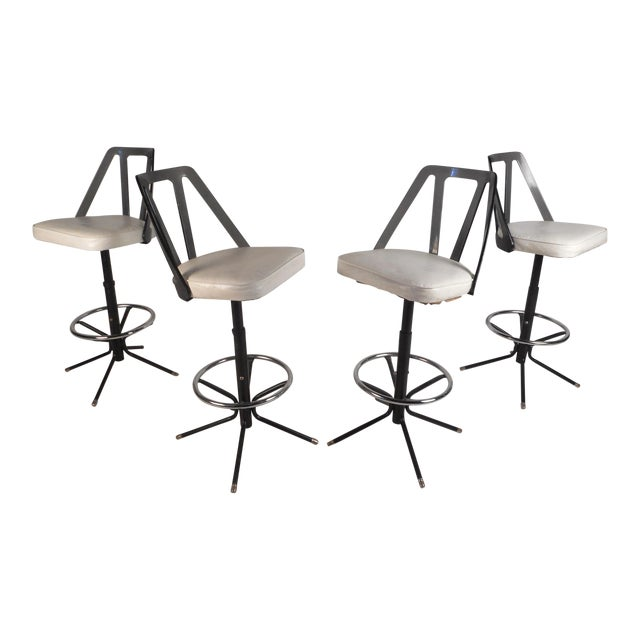 Set of Four Midcentury Smoked Lucite Swivel Bar Stools For Sale