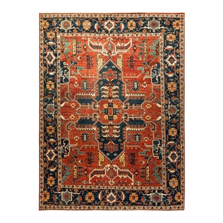 One-Of-A-Kind Oriental Serapi Hand-Knotted Area Rug, Crimson, 8' 8 X 11' 7 For Sale