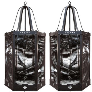 Glass and Metal Hanging Lanterns - A Pair