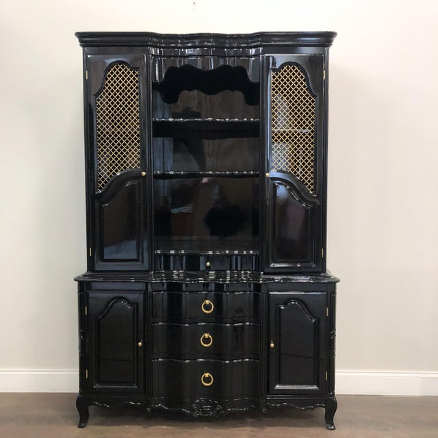 1970s Vintage Black Lacquer China Cabinet For Sale - Image 12 of 12