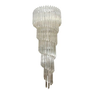 Mid-CenturyVenini Glass Rod Spiral Chandelier For Sale