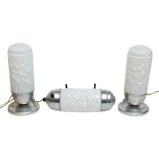 Vintage Bedside Floral Milk Glass Lamps - Set of 3 For Sale