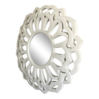 Modern White Lacquer Round Petal Mirror For Sale