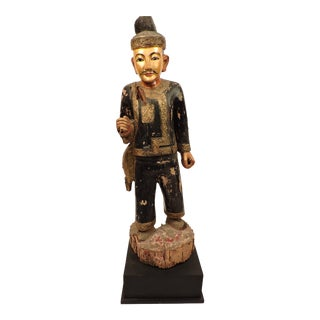 Burmese Male Nat Figure In Black and Gold For Sale