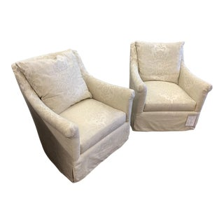 Modern Hickory Swivel Base Jules Dressmaker Chairs- A Pair For Sale