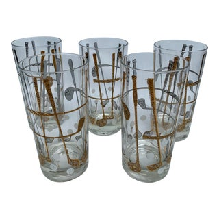 1960s George Briard Mid-Century Modern 22k Gold Golf Club Glasses - Set of 5 For Sale