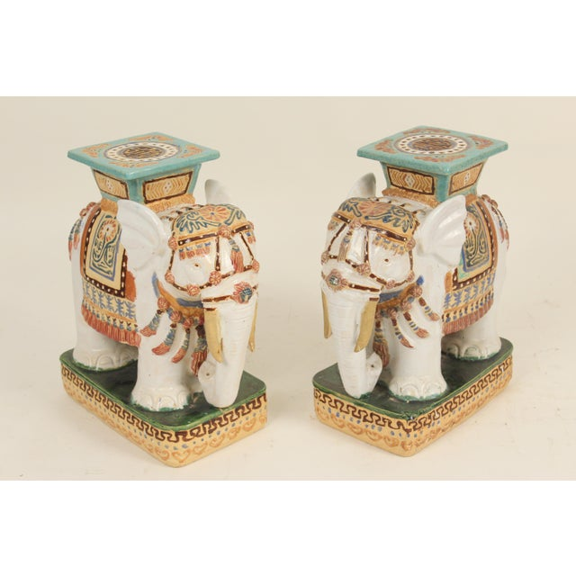 1980s Chinoiserie Polychrome Decorated Stoneware Elephant Form Garden Seats - a Pair For Sale - Image 11 of 11