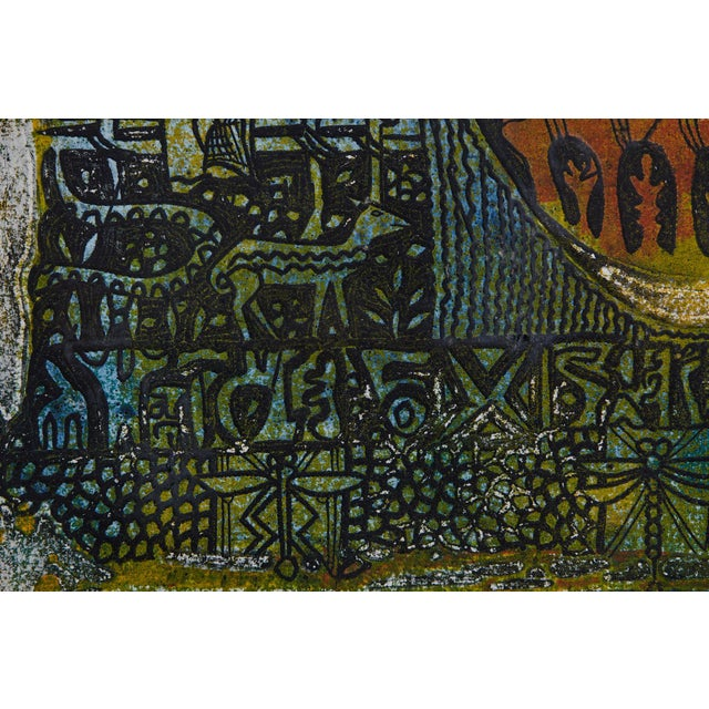 Blue Bruce Onobrakpeya Oeto 'Orange Base' rint For Sale - Image 8 of 11