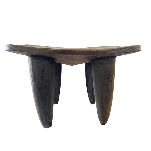 """Wood African Senufo Stool / Table I Coast 18"""" H by 26.5"""" W For Sale - Image 7 of 7"""