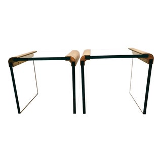 Late 20th Century Vintage Leon Rosen for Pace Waterfall Collection Side Tables - A Pair For Sale