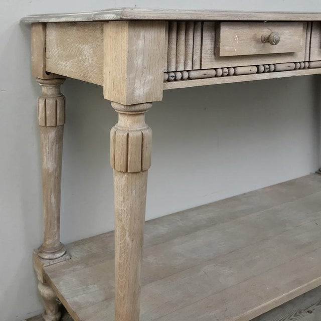 Country Antique Country French Whitewashed Console ~ Sofa Table For Sale - Image 3 of 13