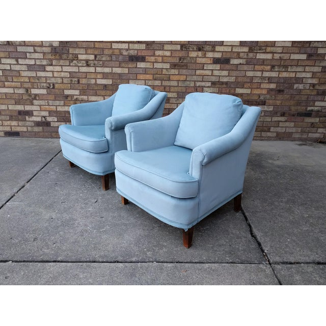 Vintage Blue Velvet Rolled Arm Club Chairs by Sam Moore Furniture - A Pair - Image 11 of 11