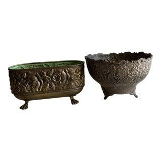 Vintage Textured Brass Metal Plant Vessels-Set of 2 For Sale
