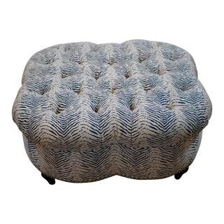 Kravet Upholstered Contemporary Tufted Oversized Round Ottoman Walnut Legs Animal Zebra Blue Cream Nailheads For Sale