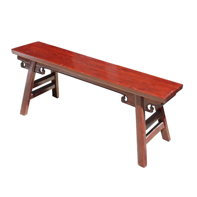 Wood Chinese Oriental Distressed Brown Stain Long Wood Bench Stool For Sale - Image 7 of 8