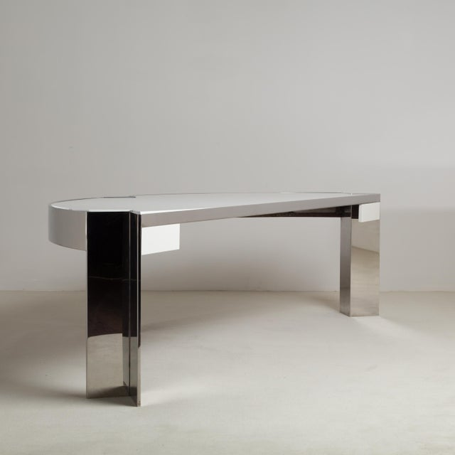 Pace A Pace Designed Chromium Steel and Ivory Lacquer Desk, 1970s For Sale - Image 4 of 10