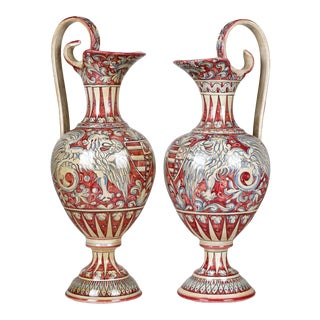 Vintage Cottura Italian Majolica Armorial Pottery Urns - Winged Griffins - a Pair For Sale