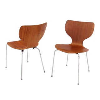 Set of Eight Molded Teak Danish Modern Dining Chairs For Sale