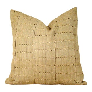 Handwoven Khaki African Aso Oke Pillow Cover For Sale