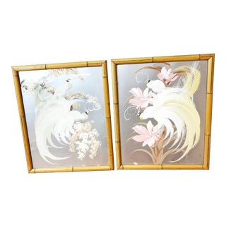 Mid Century Bird of Paradise Painting Pair - Framed in Bamboo