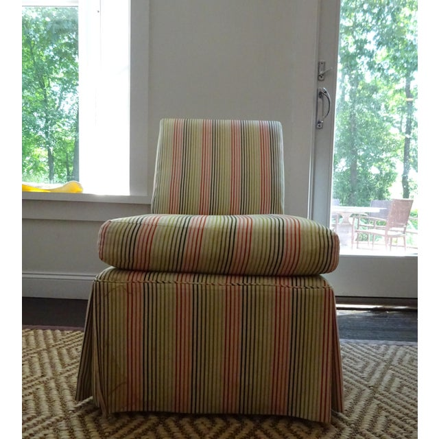 Stripped High Back Slipper Chair - Image 3 of 7