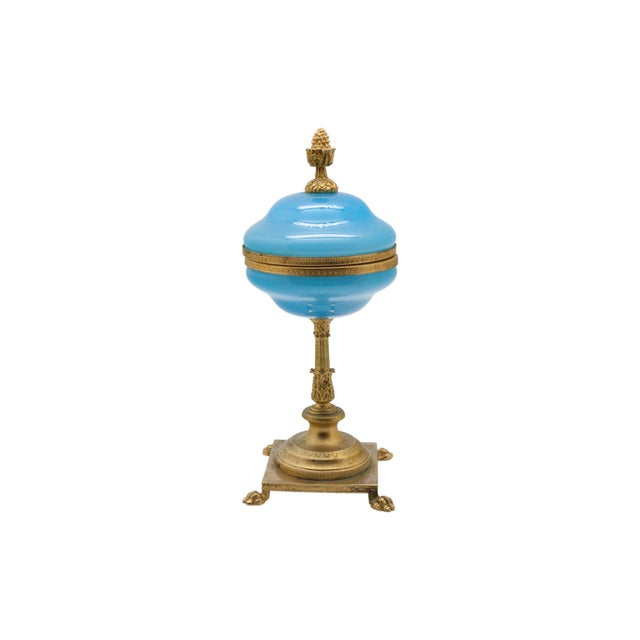 French Vintage Large Blue Opaline and Brass Pedestal Box For Sale - Image 3 of 3